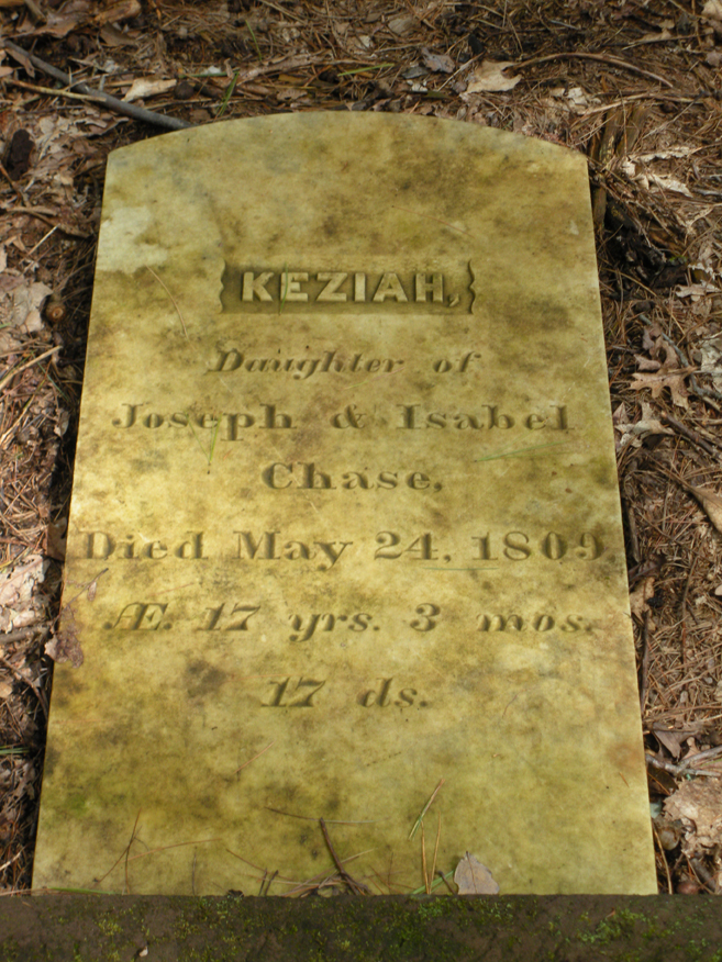 Closeup of a fallen headstone