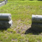 Unusual cylinder-shaped headstones