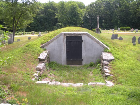 The crypt, note the gaps above and below the door