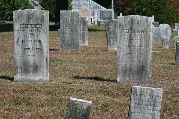 Great view of headstone rows, note weathering