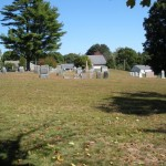Headstones on the right side, note the barrren gap