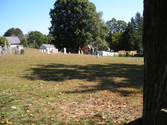 Street view looking at the right side of the cemetery