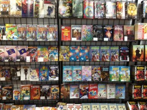 The full racks of free comics at Rubber Chicken Comics, before the crowds! (Photo courtesy of Jay Pillarella