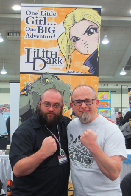 Me and the daunting Charlie Dowd. He's the creator of the all-ages comic Lilith Dark and Kidthulu. Check out his work at http://cdowd.com/